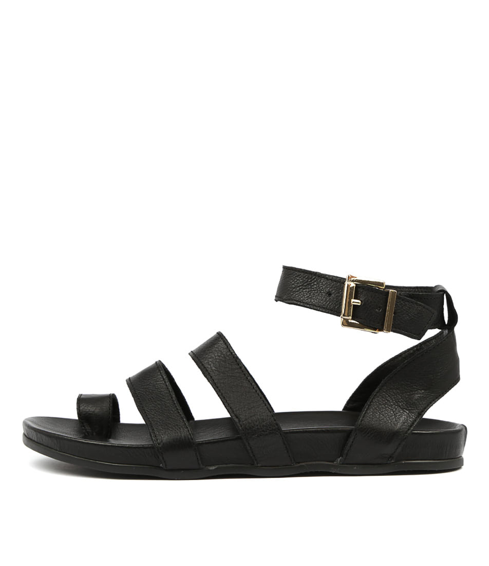 Buy Alfie & Evie Tuscany Al Black Flat Sandals online with free shipping