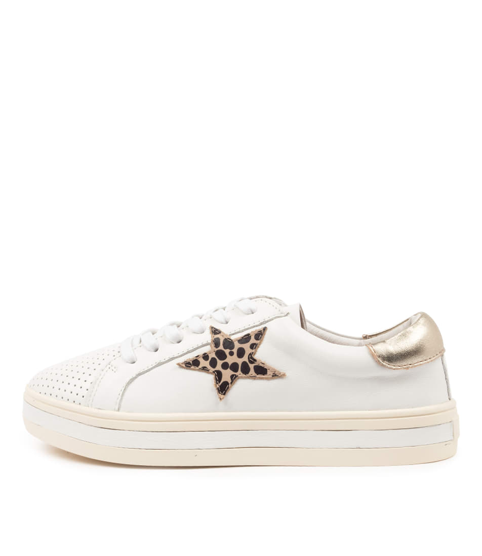 Buy Alfie & Evie Pixie Al White Brown Animal Sneakers online with free shipping