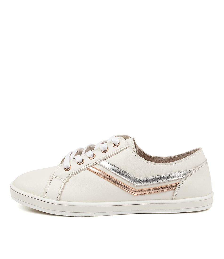 Buy Alfie & Evie Gretchen Al White Metallic Sneakers online with free shipping
