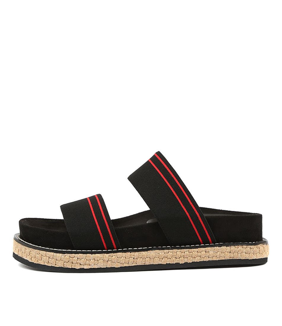 Buy Alias Mae Jenna Am Black Red Flat Sandals online with free shipping