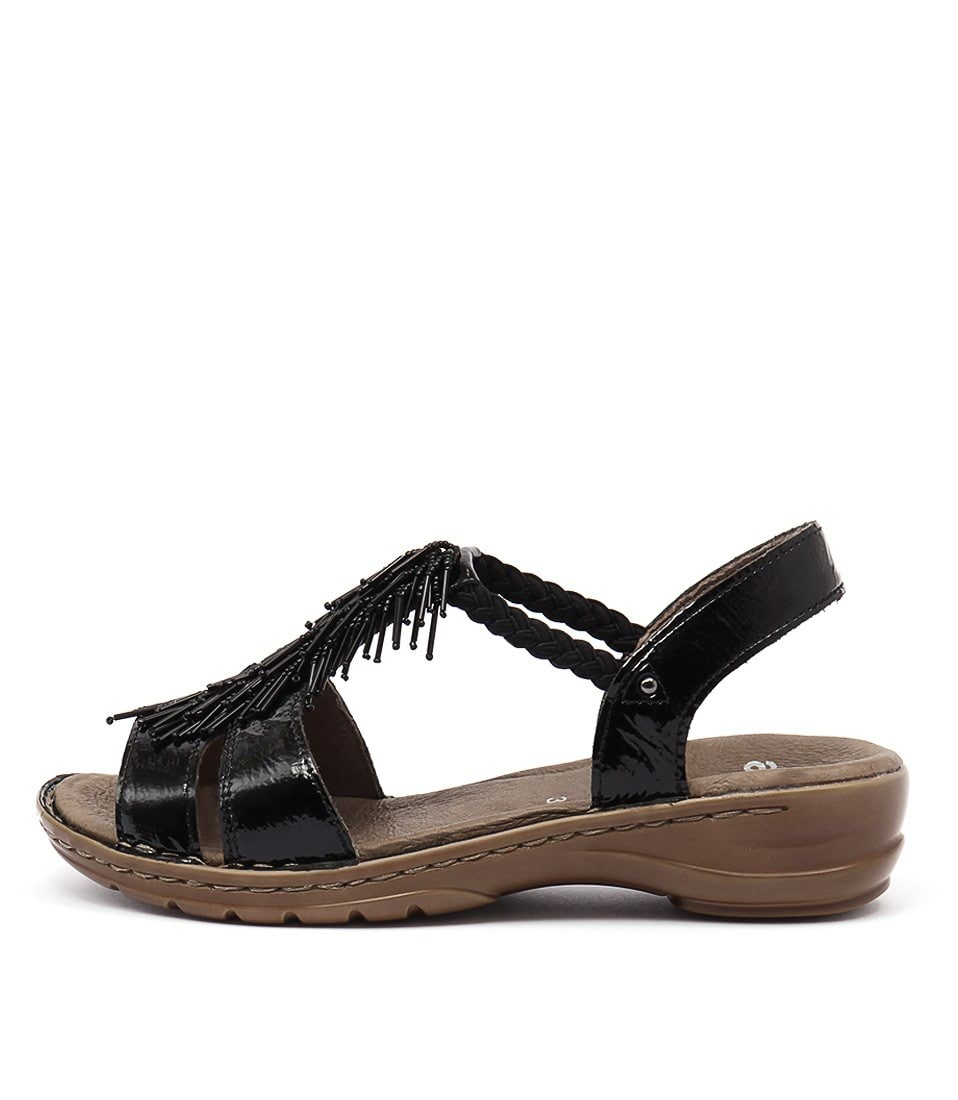 Ara Hawaii 70 Schwarz Heeled Sandals