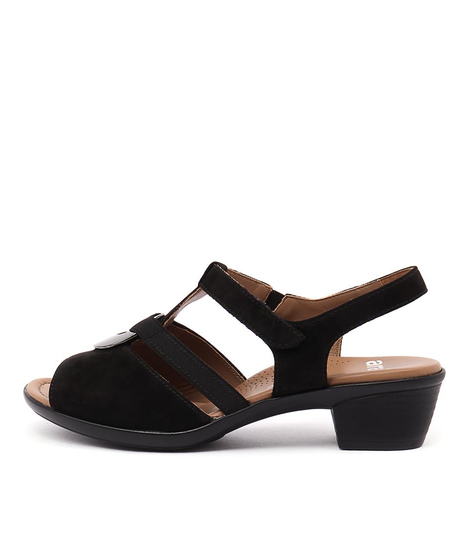 Ara Lugano 15 Schwarz Heeled Sandals