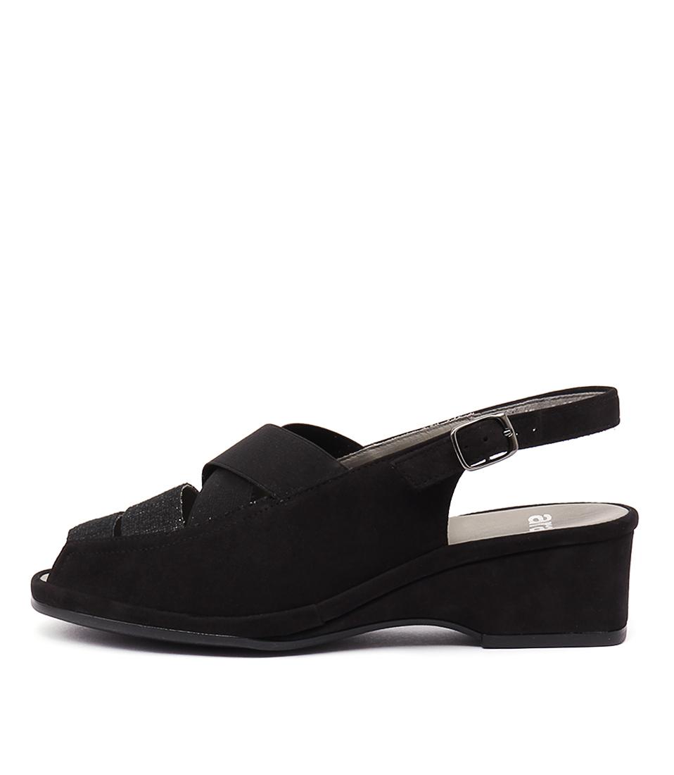 Ara Rugen 34 Schwarz Heeled Sandals