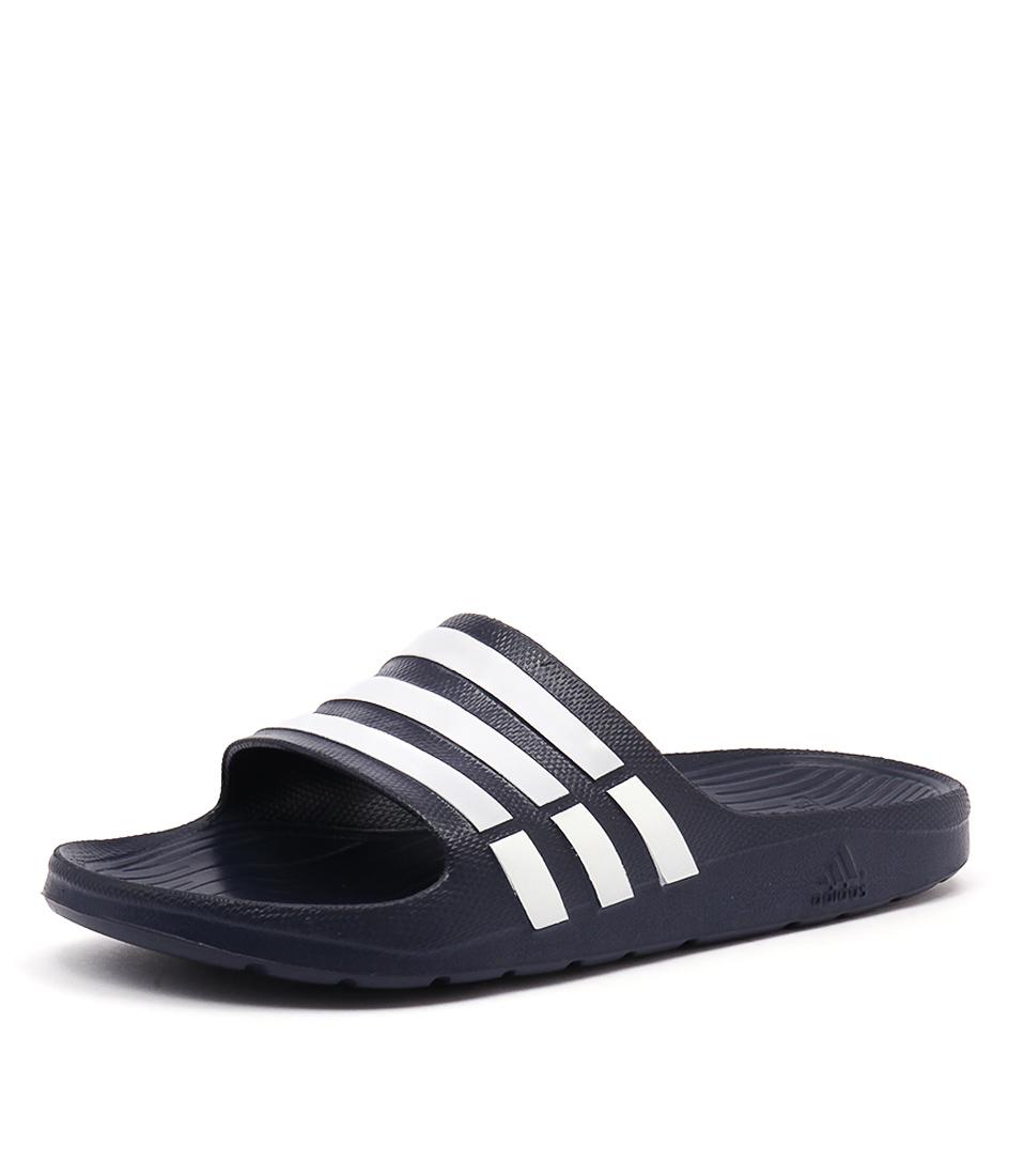 New Adidas Performance Duramo Slide Men's Navy White Navy Mens Shoes Casual