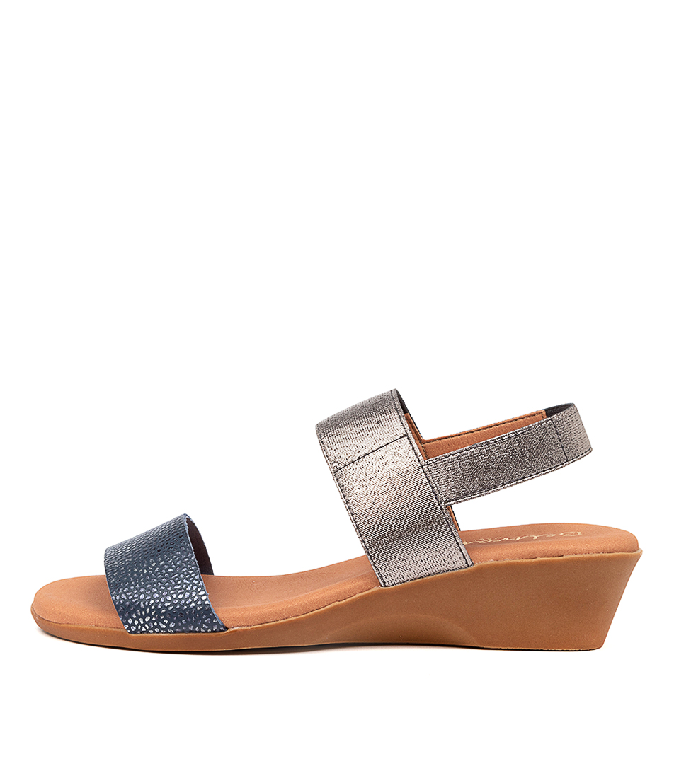 Buy Beltrami Mariana Be Navy Pewter Heeled Sandals online with free shipping
