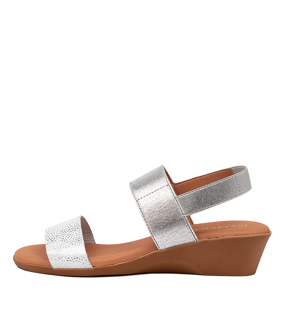Buy Beltrami Mariana Be White Silver Heeled Sandals online with free shipping
