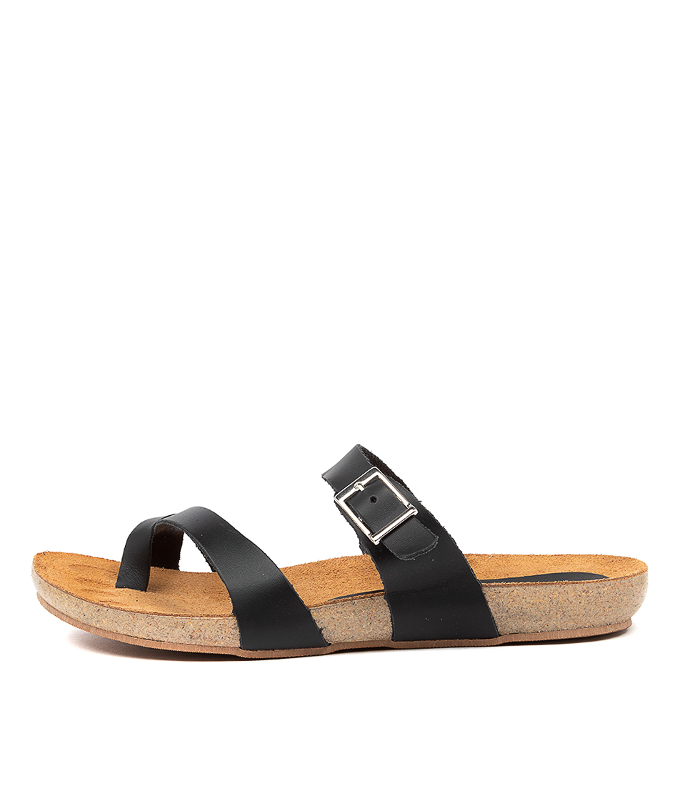 Buy Beltrami Yeria Be Black Flat Sandals online with free shipping