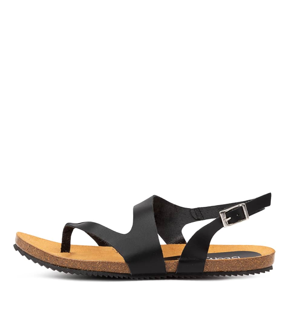 Buy Beltrami Yeva Be Black Flat Sandals online with free shipping