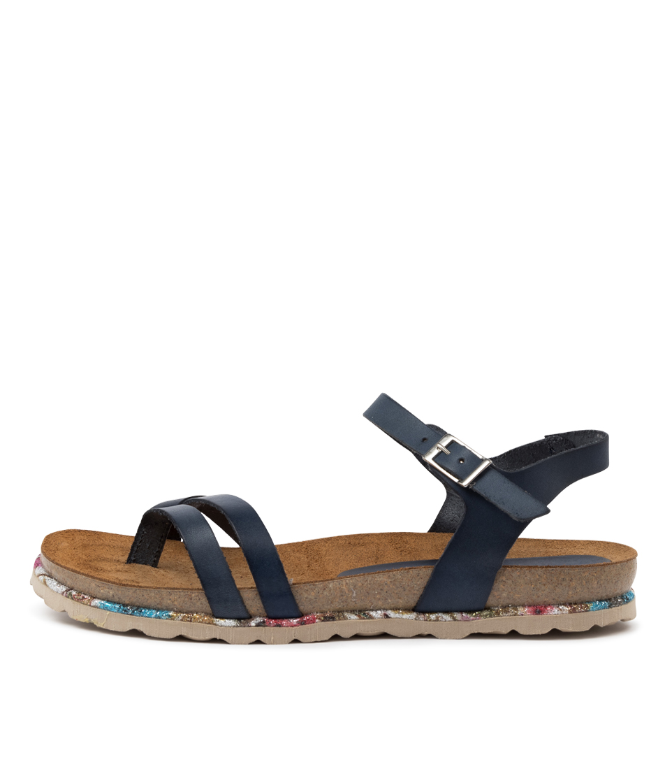 Buy Beltrami Yola Be Navy Flat Sandals online with free shipping