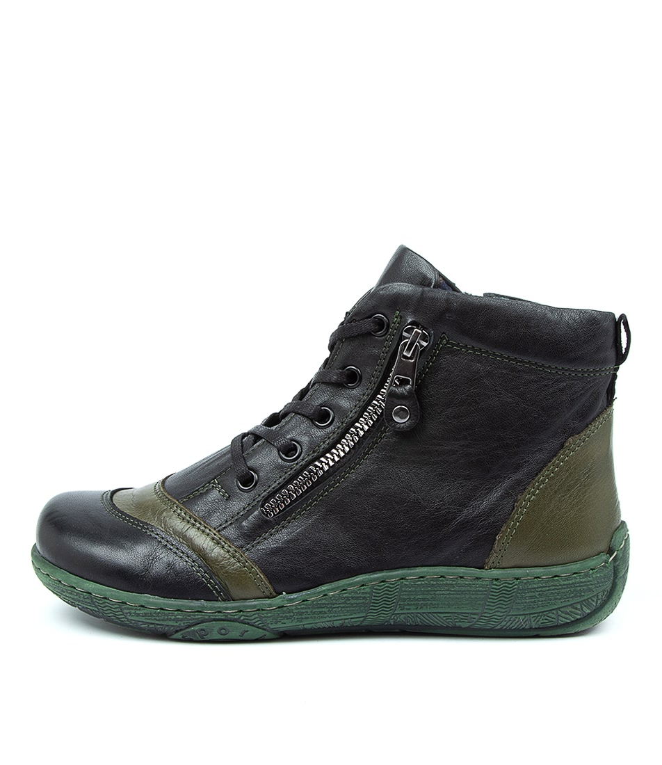 Buy Beltrami Courtet Be Black Khaki Ankle Boots online with free shipping
