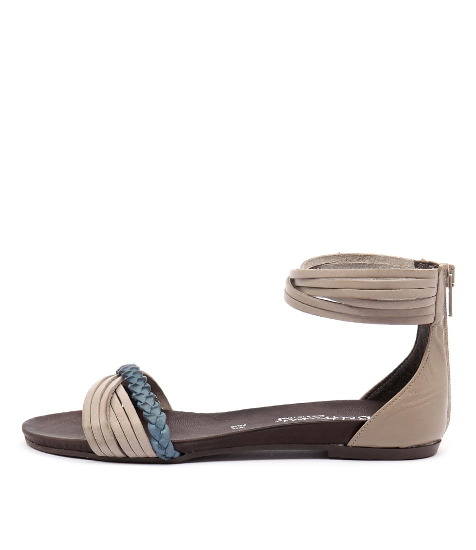 Beltrami Samantha Taupe Taupe Blu Casual Flat Sandals