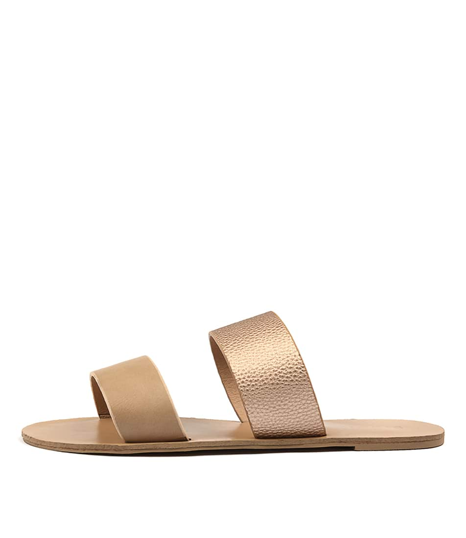 Billini Cuban Camel Rose Gold Casual Flat Sandals