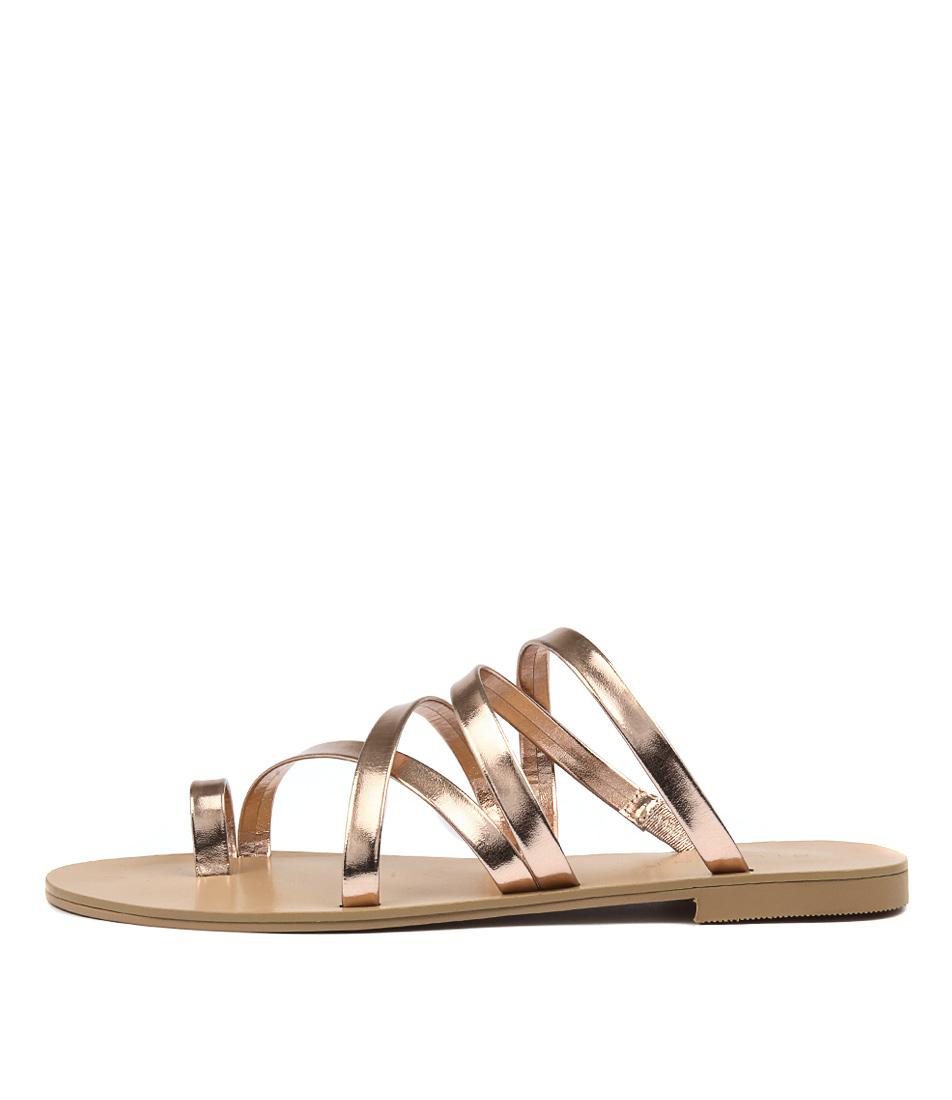 Billini Ryla Rose Gold Metallic Casual Flat Sandals