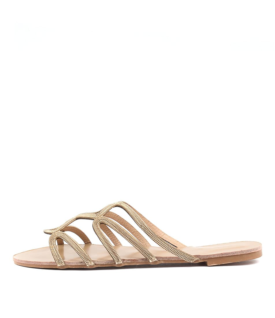 Billini Santana Gold Dress Flat Sandals