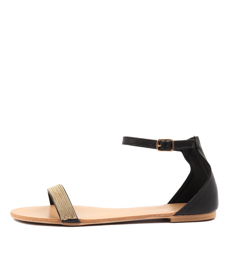 Billini Mandra Black Gold Sandals