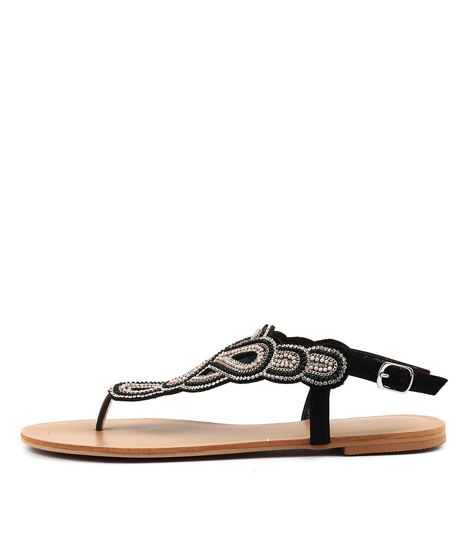 Billini Jaipur Black Flat Sandals