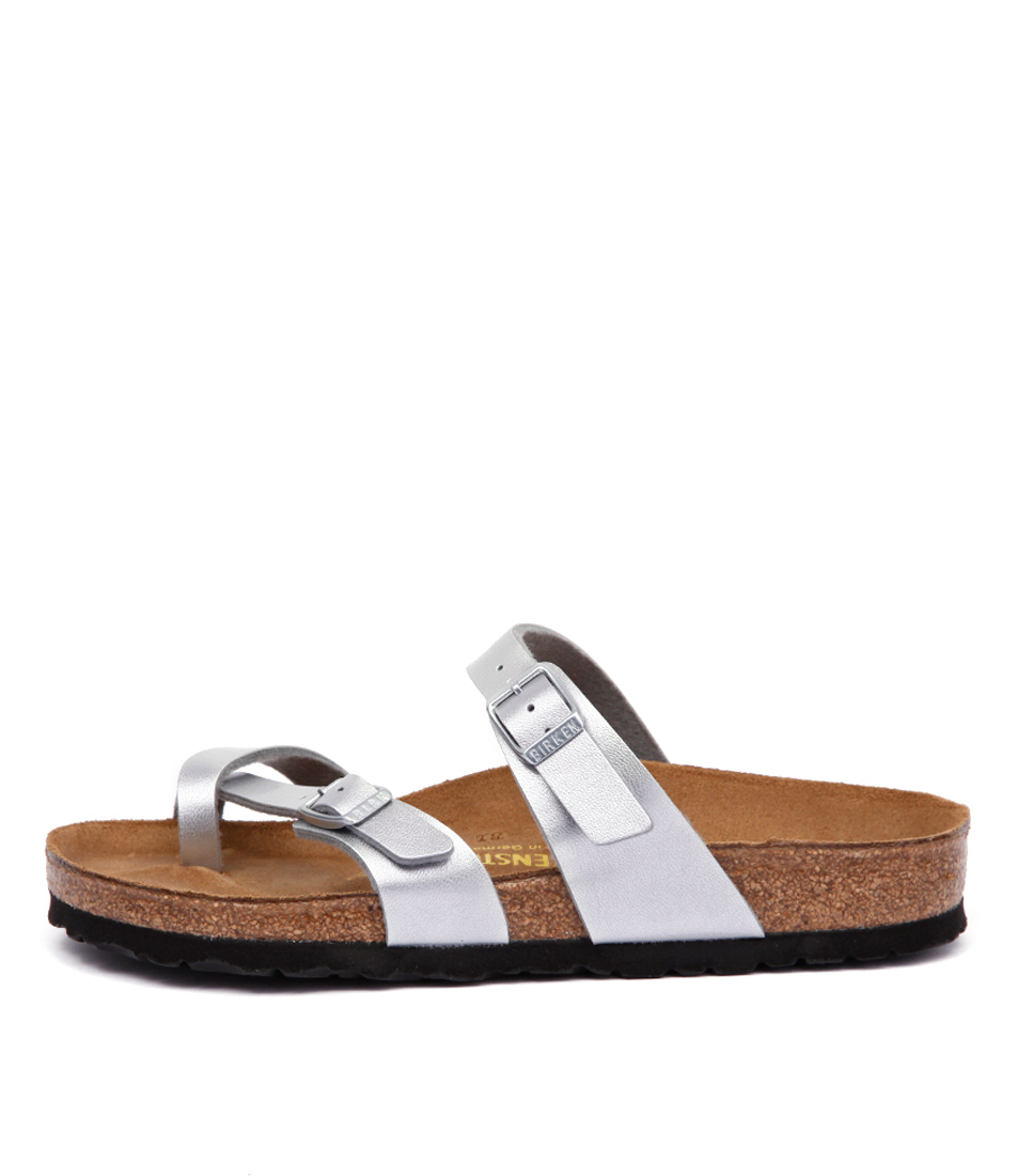 Buy Birkenstock Mayari Silver Flat Sandals online with free shipping