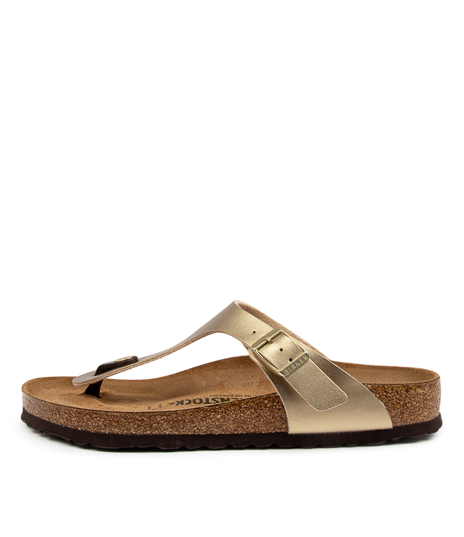 Buy Birkenstock Gizeh Metallic Gold Flat Sandals online with free shipping