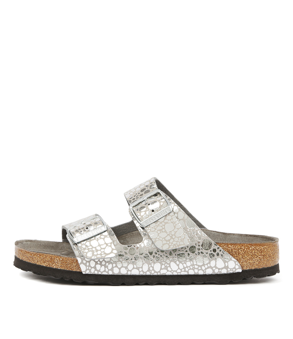 Buy Birkenstock Arizona Stones Silver Flat Sandals online with free shipping
