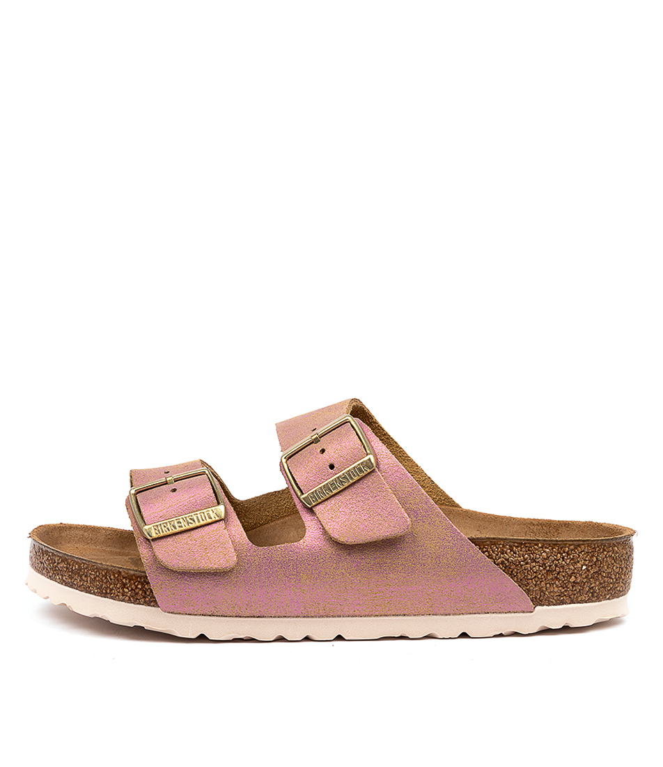 Buy Birkenstock Arizona Washed Met Pink Flat Sandals online with free shipping