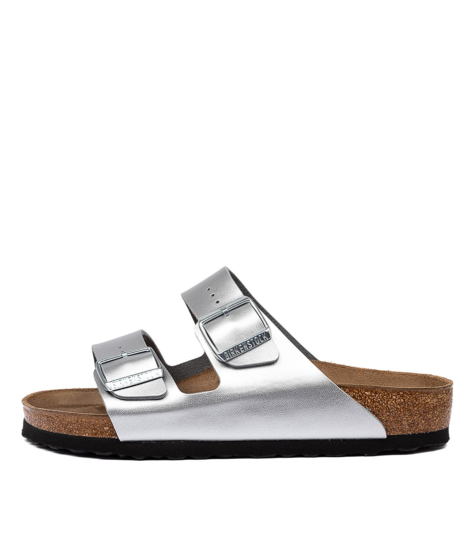 Buy Birkenstock Arizona Silver Flat Sandals online with free shipping