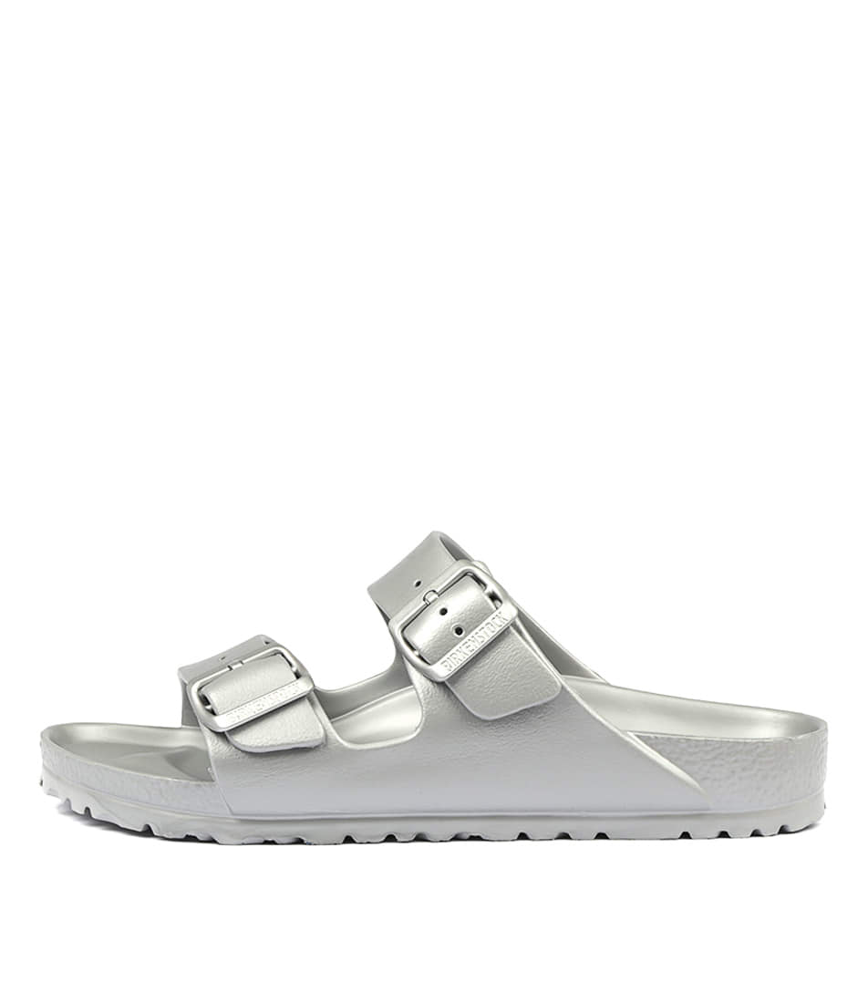 Buy Birkenstock Arizona Eva Metallic Silver Flat Sandals online with free shipping