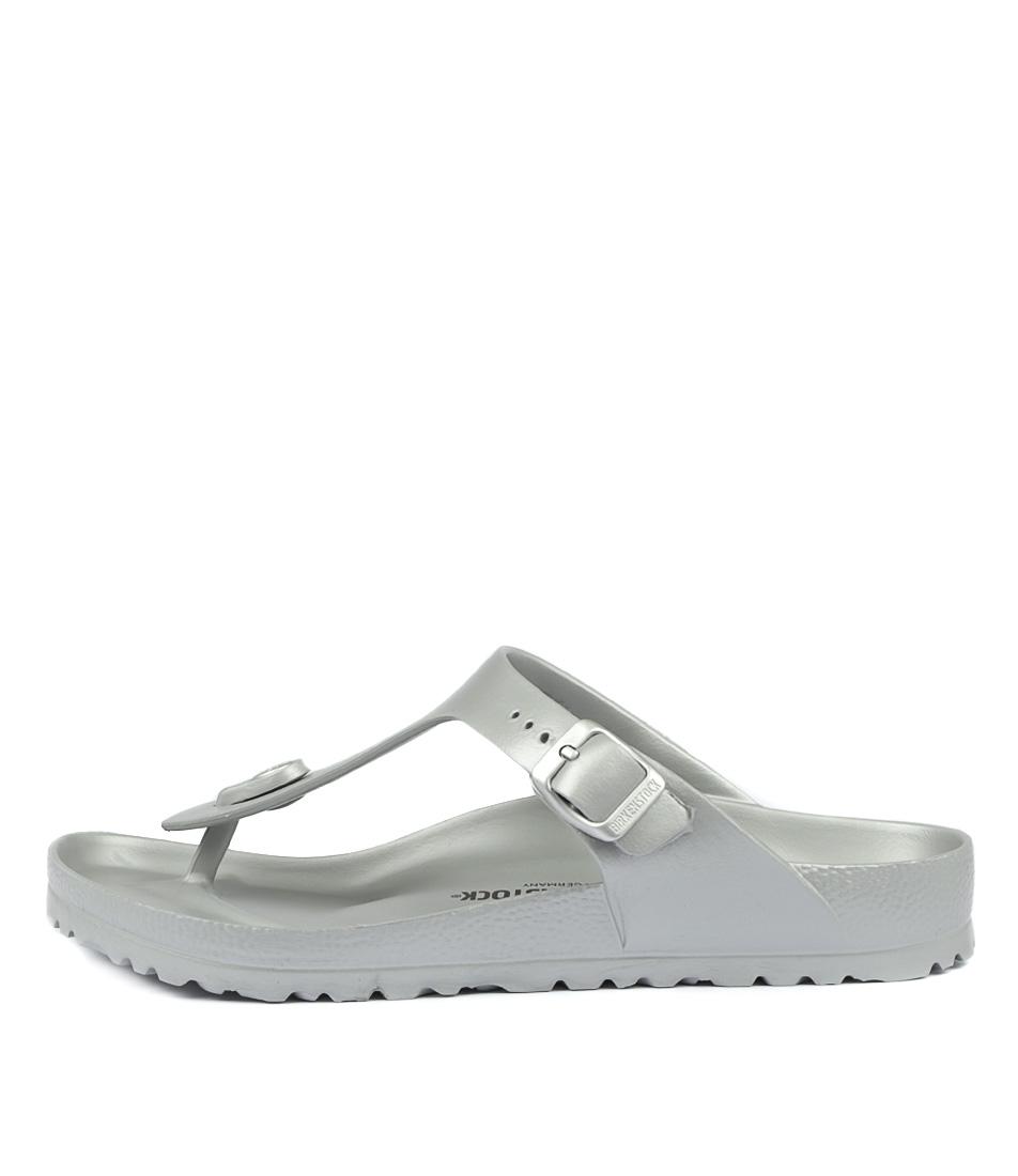 Buy Birkenstock Gizeh Eva Metallic Silver Flat Sandals online with free shipping