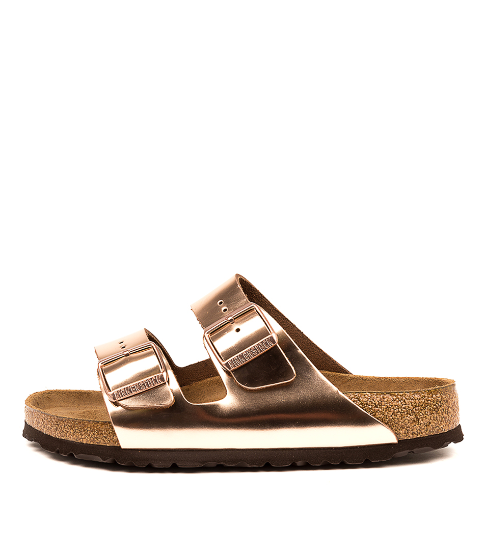 Buy Birkenstock Arizona Sfb Metallic Copper Flat Sandals online with free shipping