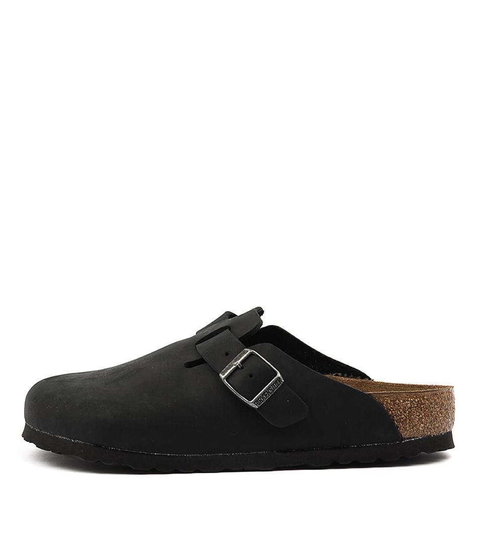 Birkenstock Boston Black Flat Shoes