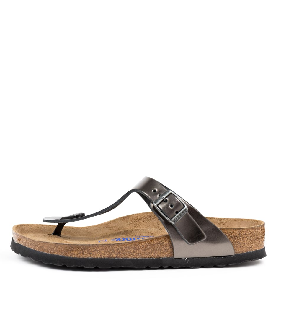 Buy Birkenstock Gizeh Sfb Metallic Anthra Sandals online with free shipping