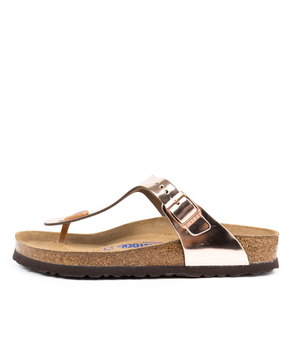Buy Birkenstock Gizeh Sfb Metallic Copper Flat Sandals online with free shipping