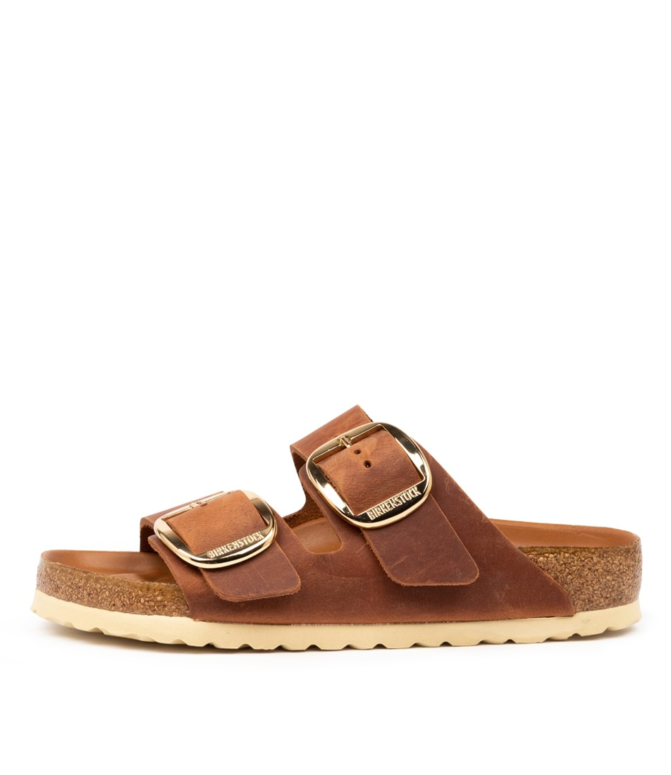 Buy Birkenstock Arizona Big Buckle Cognac Flat Sandals online with free shipping
