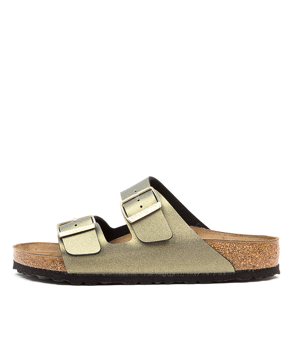 Buy Birkenstock Arizona Icy Metallic Bk Stone Gold Flat Sandals online with free shipping