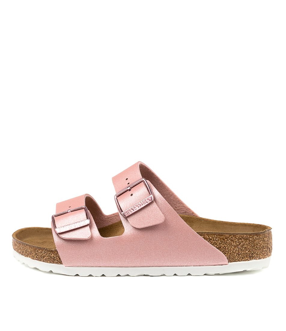 Buy Birkenstock Arizona Icy Metallic Bk Old Rose White Flat Sandals online with free shipping