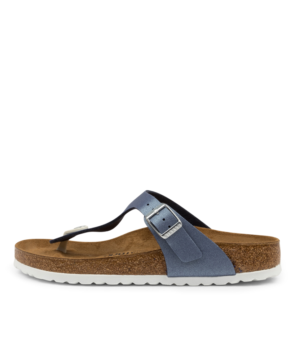 Buy Birkenstock Gizeh Icy Metallic Bk Azure Blue Flat Sandals online with free shipping