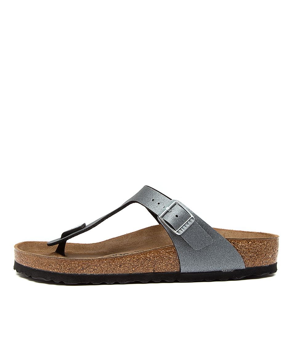 Buy Birkenstock Gizeh Icy Metallic Bk Anthracite Flat Sandals online with free shipping