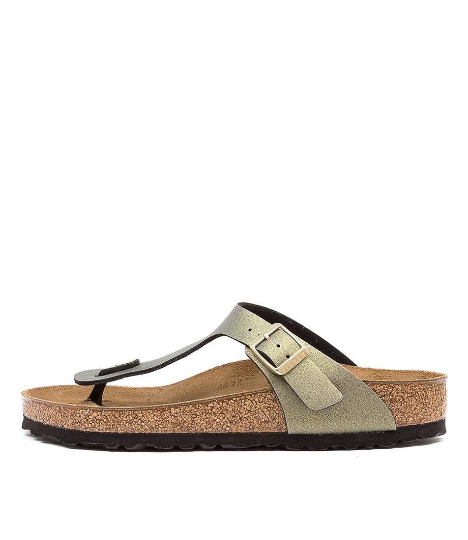 Buy Birkenstock Gizeh Icy Metallic Bk Stone Gold Flat Sandals online with free shipping