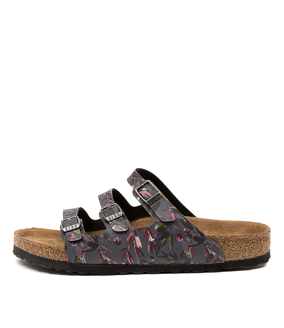 Buy Birkenstock Florida Floral Fades Bk Anthracite Flat Sandals online with free shipping