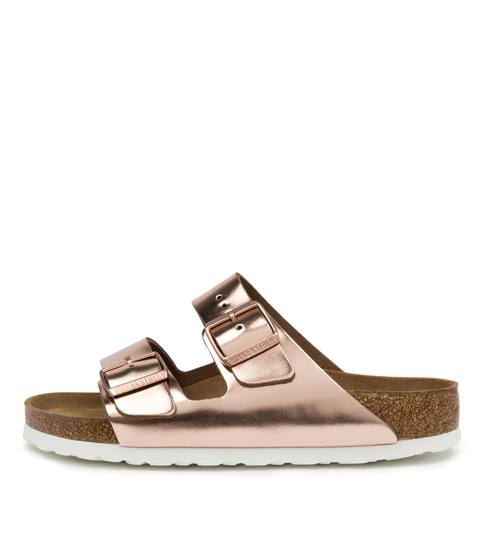 Buy Birkenstock Arizona Sfb White Sole Bk Metallic Copper Flat Sandals online with free shipping