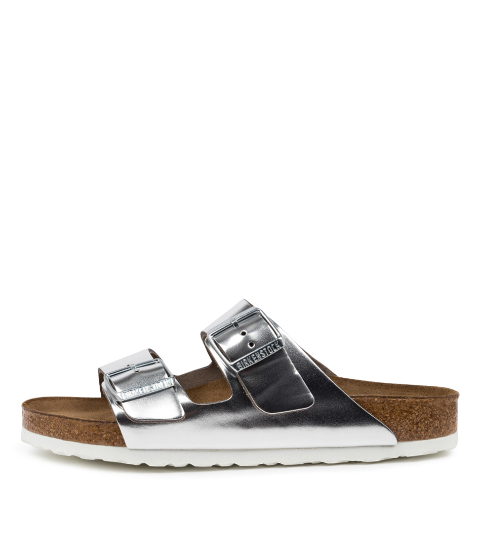 Buy Birkenstock Arizona Sfb White Sole Bk Metallic Silver Flat Sandals online with free shipping