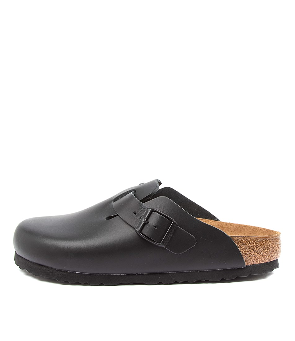 Buy Birkenstock Boston W Narrow Bk Black Flat Sandals online with free shipping
