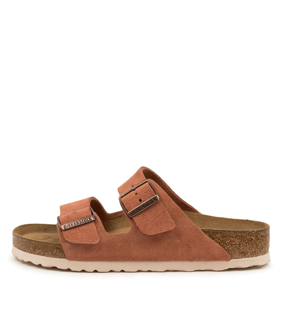 Buy Birkenstock Arizona Sfb Su W Bk Earth Red White Flat Sandals online with free shipping