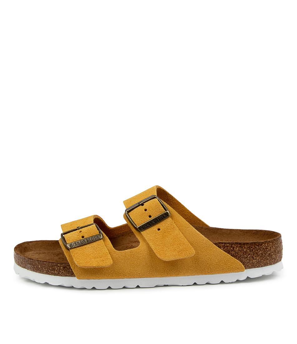 Buy Birkenstock Arizona Sfb Su W Bk Ochre White Sol Flat Sandals online with free shipping