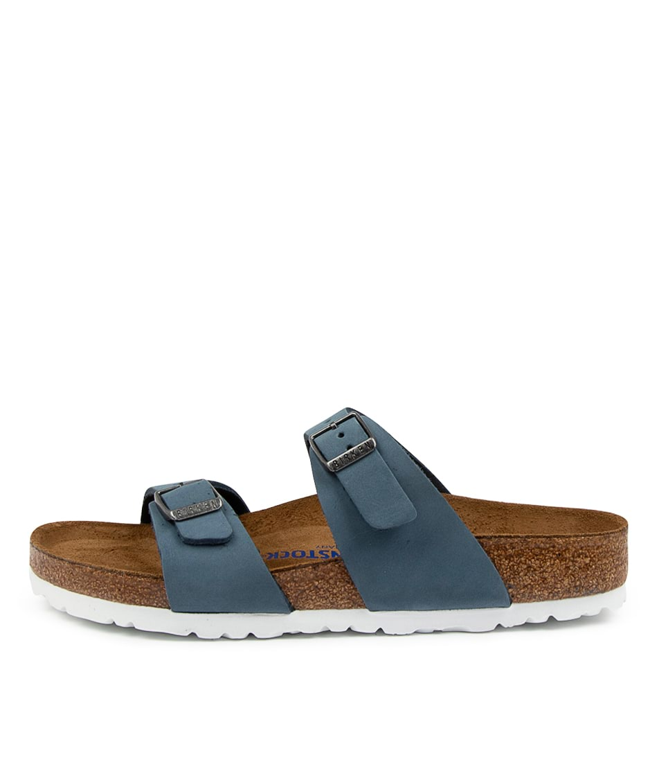 Buy Birkenstock Sydney Sfb Nu W Bk Dove Blue White Flat Sandals online with free shipping