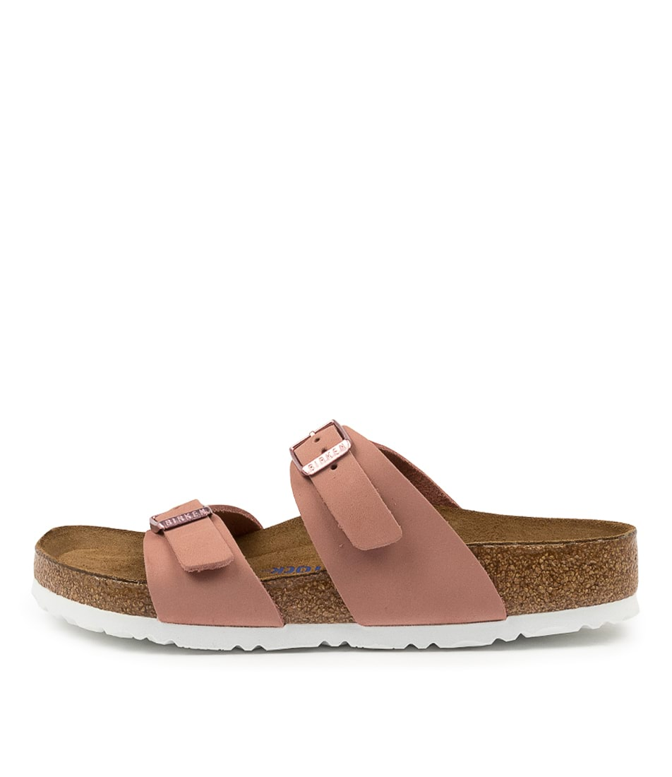 Buy Birkenstock Sydney Sfb Nu W Bk Old Rose White Flat Sandals online with free shipping