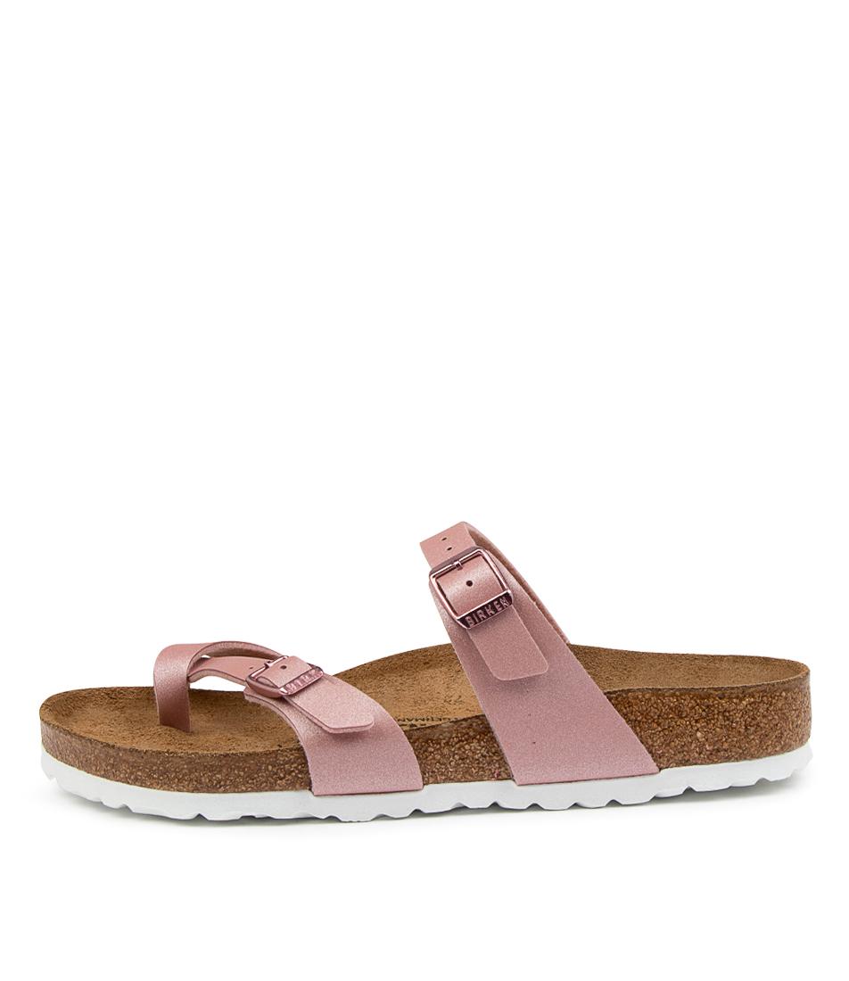 Buy Birkenstock Mayari Icy Metallic Bf W Bk Old Rose White Flat Sandals online with free shipping