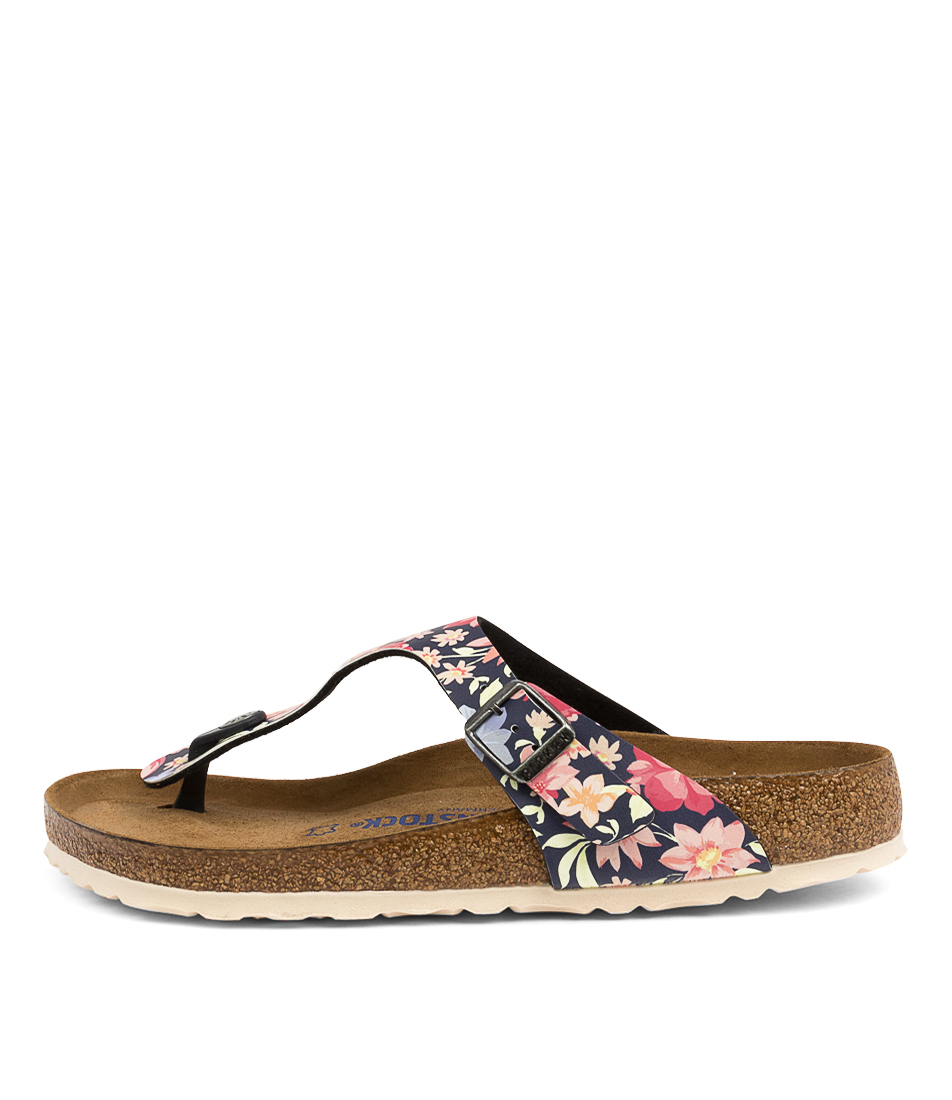 Buy Birkenstock Gizeh Sfb Supr Natrl Flower Bk Navy White Sole Flat Sandals online with free shipping