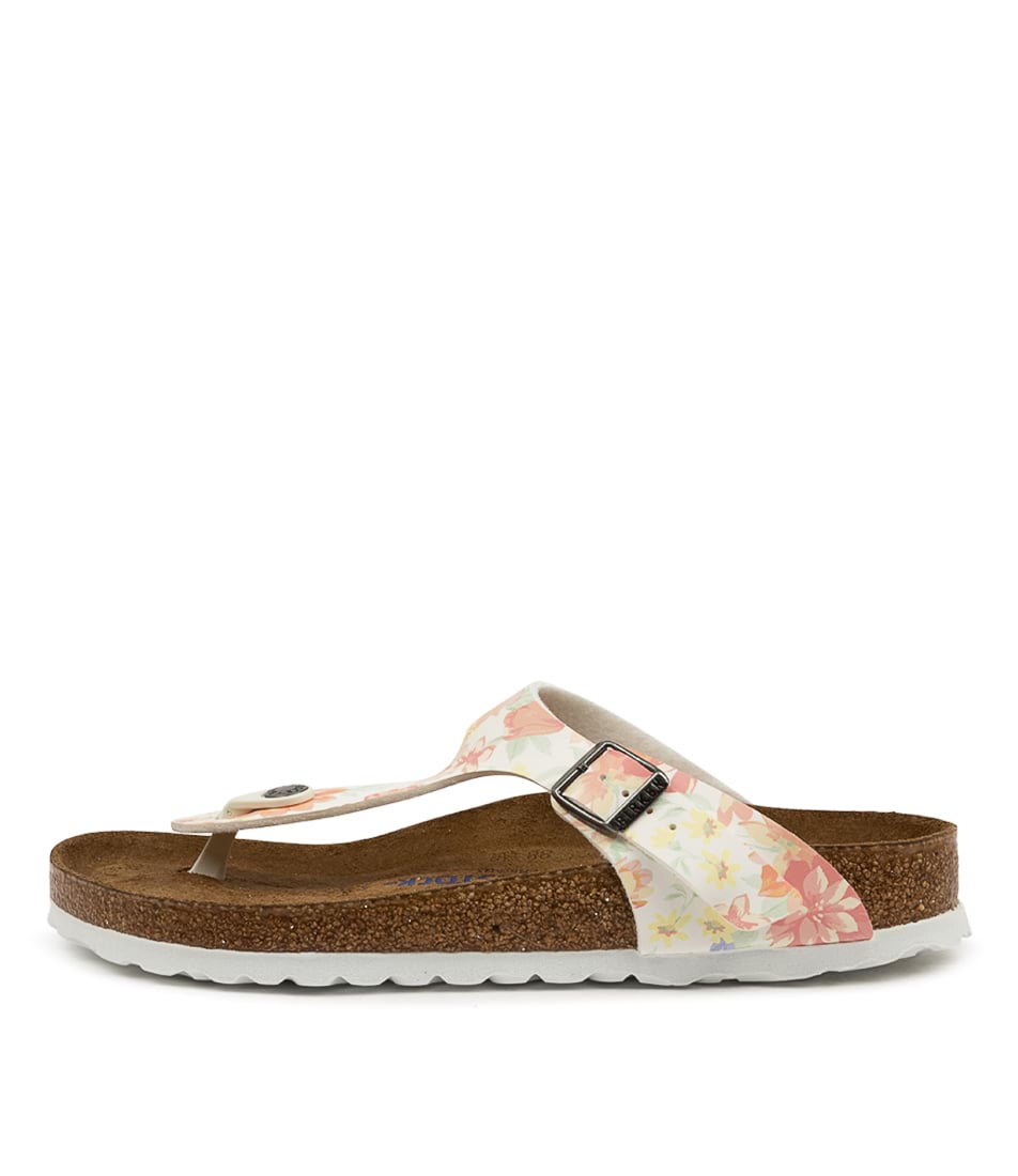Buy Birkenstock Gizeh Sfb Supr Natrl Flower Bk White White Sole Flat Sandals online with free shipping