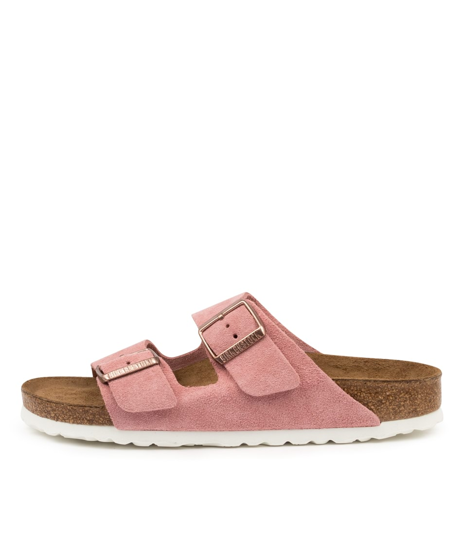Buy Birkenstock Arizona Sfb Su Narrow W Bk Lt Rose White S Flat Sandals online with free shipping