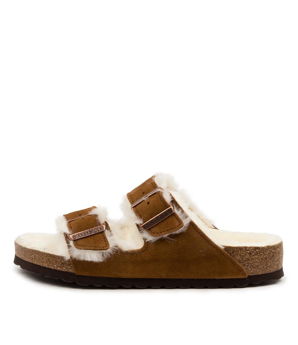 Buy Birkenstock Arizona Shearling Bk Mink Flat Sandals online with free shipping